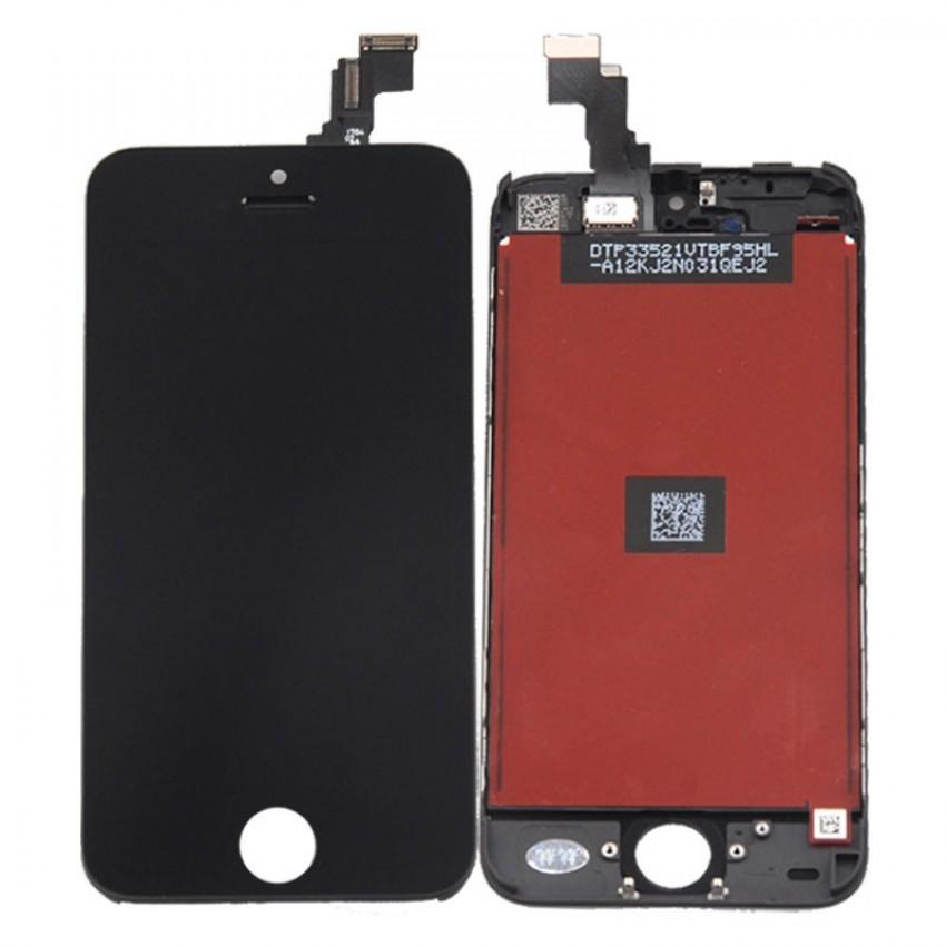 Ekranas iPhone 5C su lietimui jautriu stikliuku juodas HQ