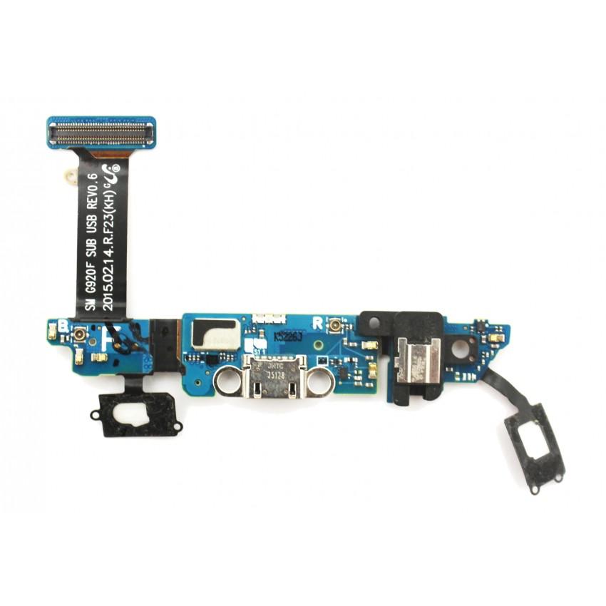 Lanksčioji jungtis Samsung G920 S6 su įkrovimo kontaktu, mikrofonu, ausinių lizdu ir funkciniais mygtukais ORG