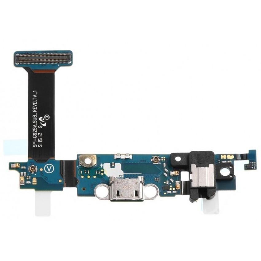 Lanksčioji jungtis Samsung G925F S6 Edge su įkrovimo kontaktu, mikrofonu, ausinių lizdu ir funkciniais mygtukais ORG
