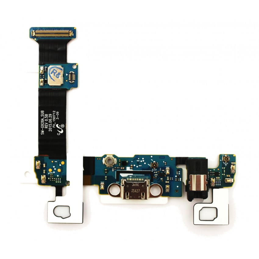 Lanksčioji jungtis Samsung G928 S6 Edge Plus su įkrovimo kontaktu, mikrofonu, ausinių lizdu ir funkciniais mygtukais ORG