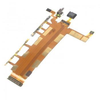 Lanksčioji jungtis Sony D6602/D6603/Z3 šoninių mygtukų su mikrofonu (4G vers.) HQ