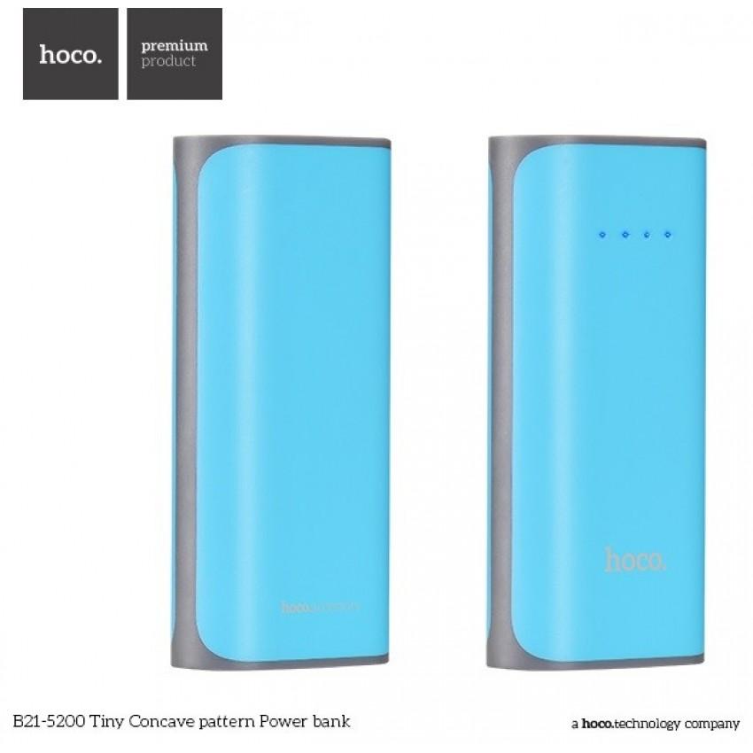 Išorinė baterija POWER BANK HOCO B21 5200mAh mėlyna su žibintuvėliu ir microUSB laidu
