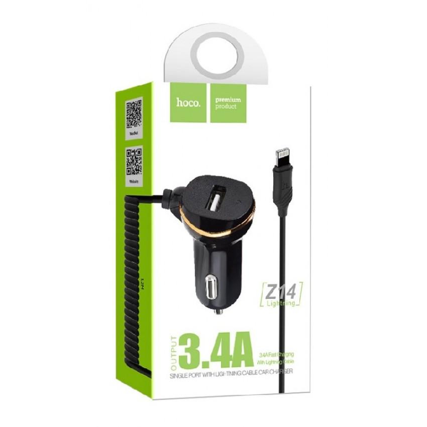 """Įkroviklis automobilinis HOCO Z14 USB + """"lightning"""" (5V 3.1A) juodas"""
