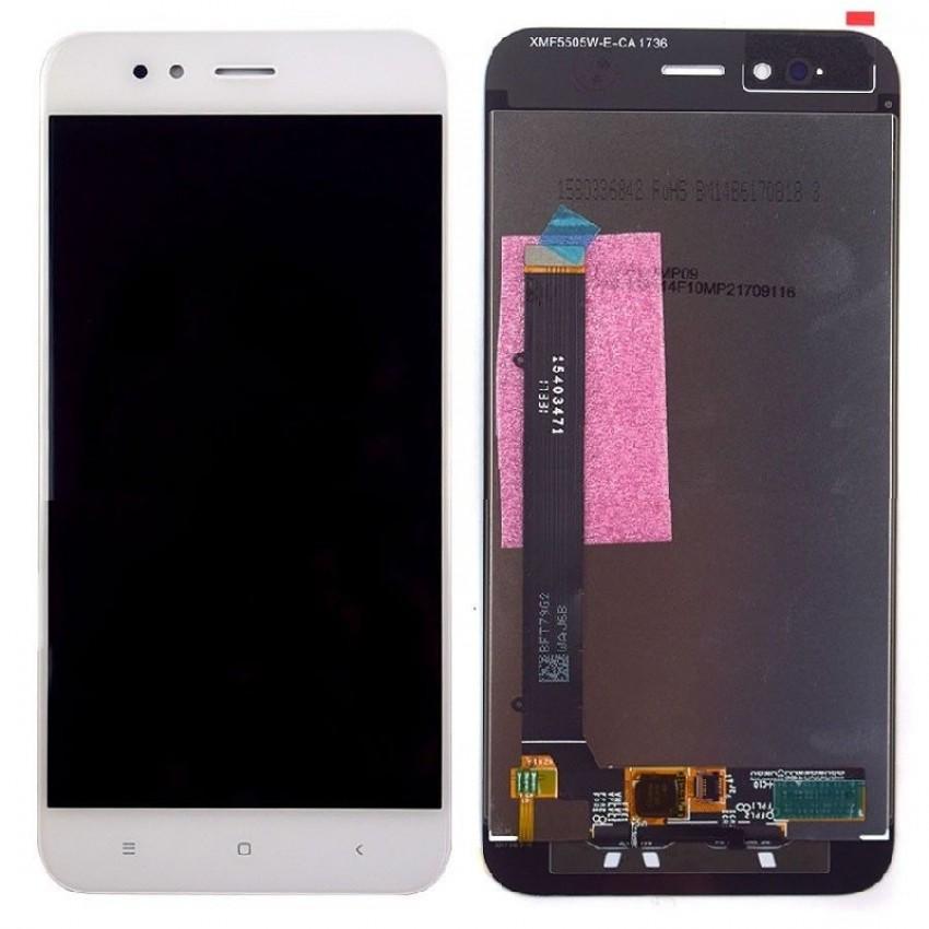 Ekranas Xiaomi Mi A1/Mi 5X su lietimui jautriu stikliuku baltas HQ
