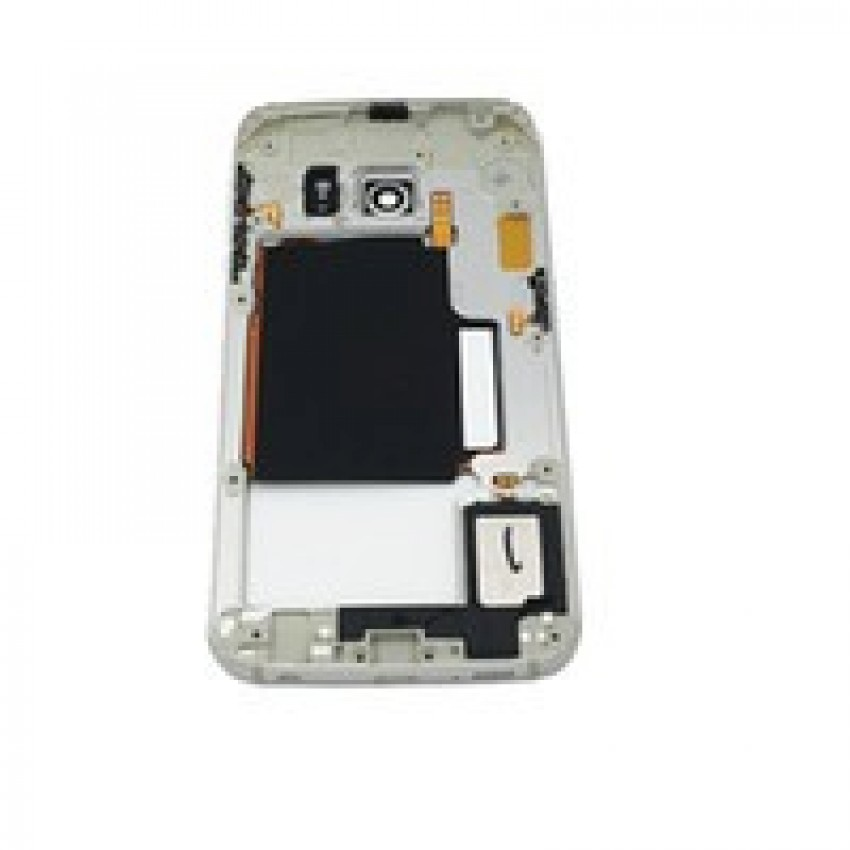 Middle housing Samsung G925F S6 Edge grey (blue) with buzzer and sides buttons original (used Grade B)