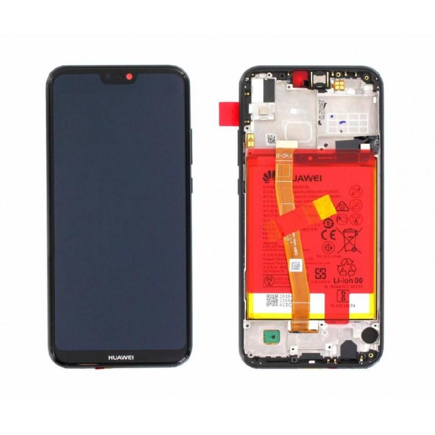 Ekranas Huawei P20 Lite su lietimui jautriu stikliuku su rėmeliu ir baterija juodas originalus (service pack)