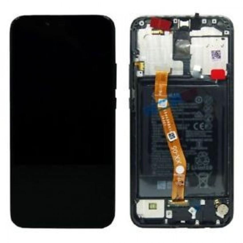 Ekranas Huawei Mate 20 Lite su lietimui jautriu stikliuku su rėmeliu ir baterija juodas originalus (service pack)