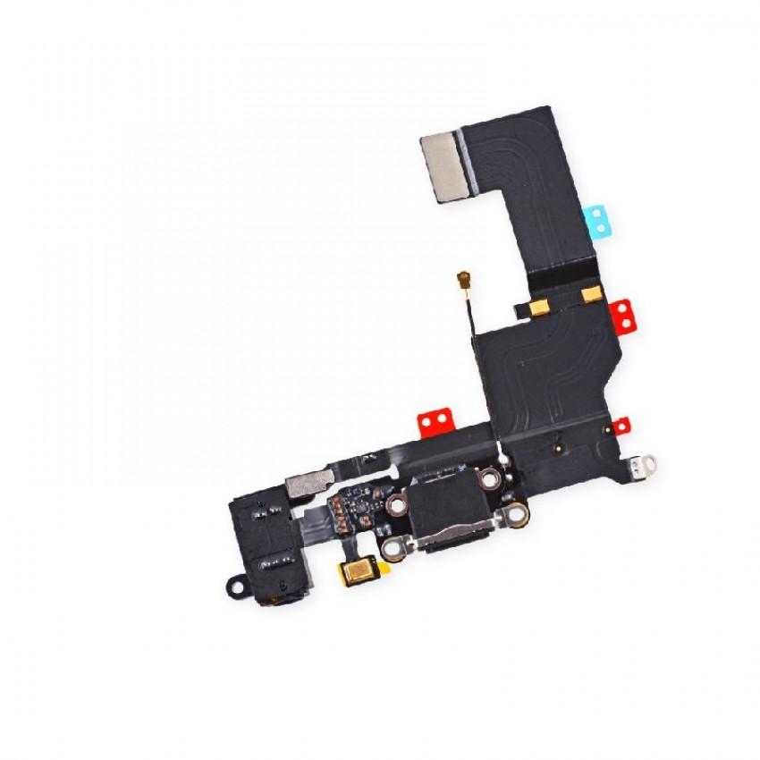 Lanksčioji jungtis Apple iPhone 5S audio ir įkrovimo kontaktų, su mikrofonu juoda ORG