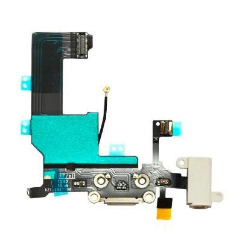 Lanksčioji jungtis Apple iPhone 5S audio ir įkrovimo kontaktų, su mikrofonu balta ORG