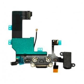 Lanksčioji jungtis Apple iPhone 5C audio ir įkrovimo kontaktu juoda ORG