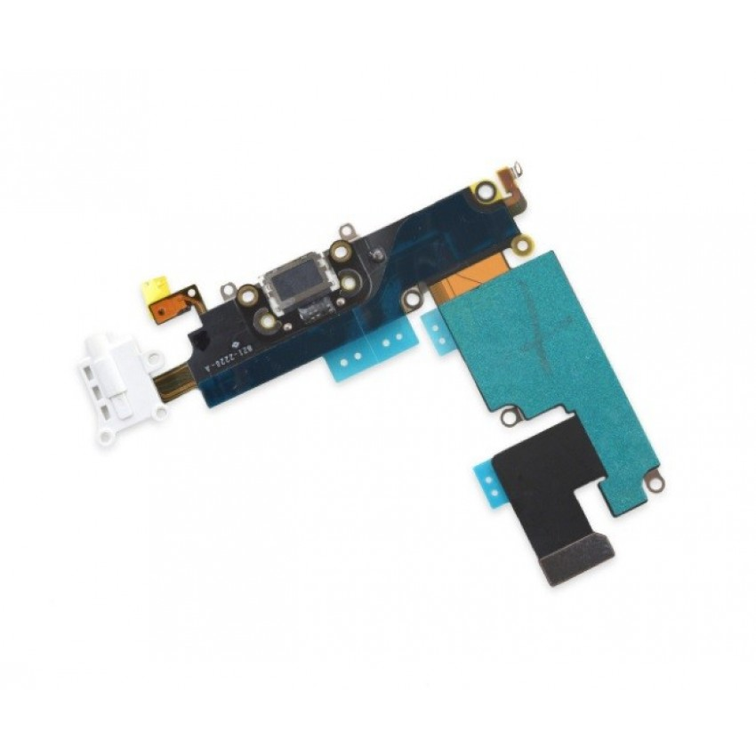 Lanksčioji jungtis Apple iPhone 6S audio ir įkrovimo kontaktų, su mikrofonu balta ORG