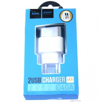 Charger FastCharge HOCO C40A Speedmaster Dual USB (5V 2.4A) white