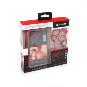 Armband case Platinet + HF 3,5mm red 4.7' - 5.0' (14x7,1cm)