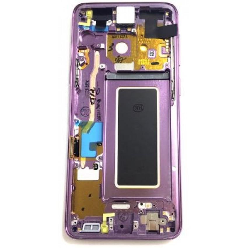 Ekranas Samsung G960F S9 su lietimui jautriu stikliuku ir rėmeliu violetinė (Lilac Purple) originalus (used Grade A)
