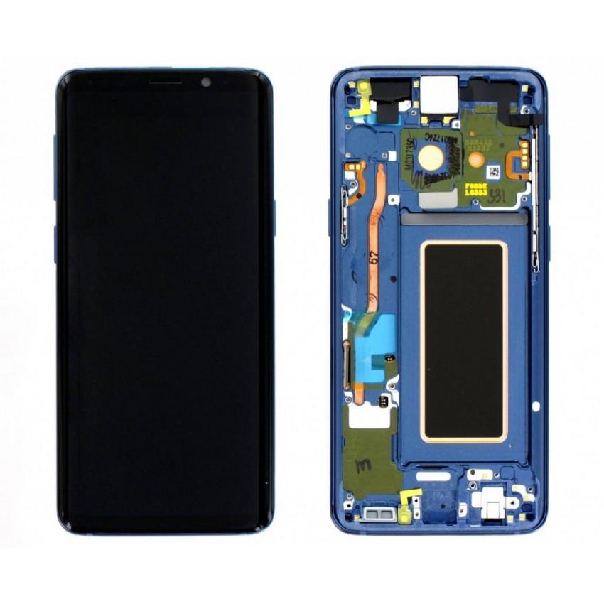 Ekranas Samsung G960F S9 su lietimui jautriu stikliuku ir rėmeliu mėlynas (Coral Blue) originalus (used Grade B)
