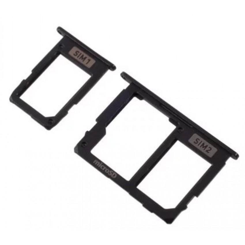 SIM card holder Samsung A605 A6+ 2018 (2 pcs) black ORG