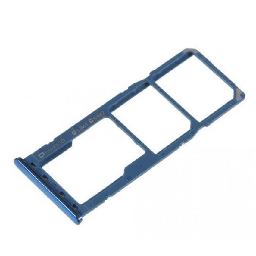 SIM card holder Samsung A750 A7 2018 blue ORG