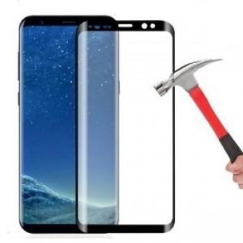 """LCD apsauginis stikliukas """"5D Full Glue"""" Samsung A8 Plus (2018) A730 lenktas juodas be įpakavimo"""