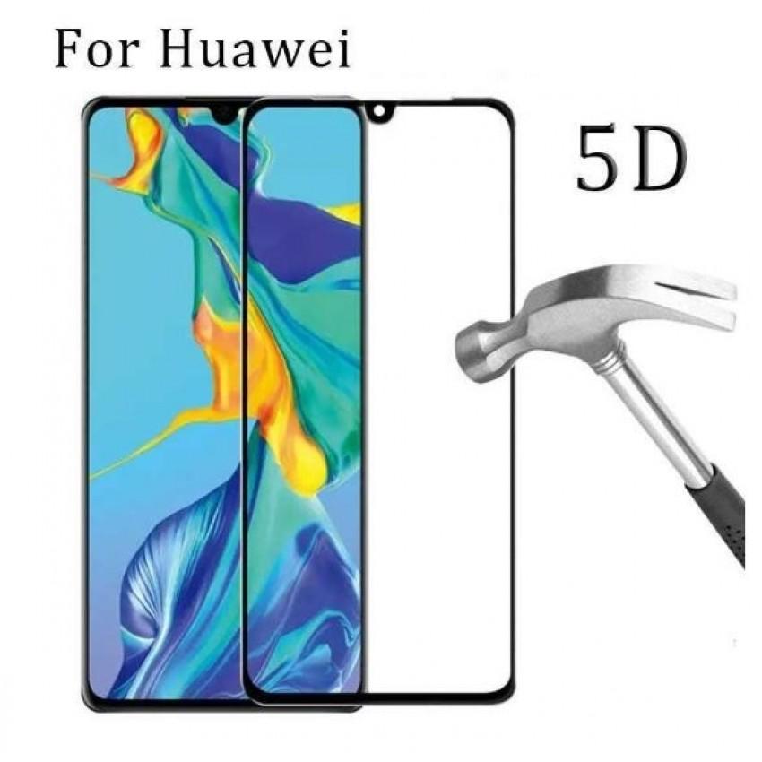 """LCD apsauginis stikliukas """"5D Full Glue"""" Huawei P30 Lite lenktas juodas be įpakavimo"""