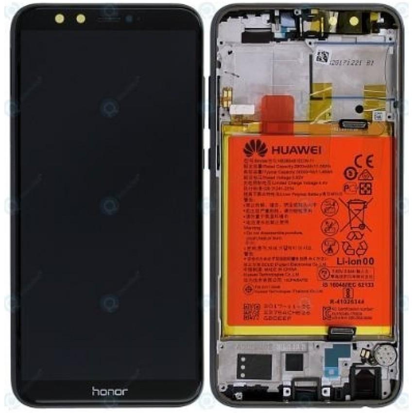 Дисплей Huawei Honor 9 Lite с сенсорным экраном и рамкой с аккумулятором черный оригинал (service pack)