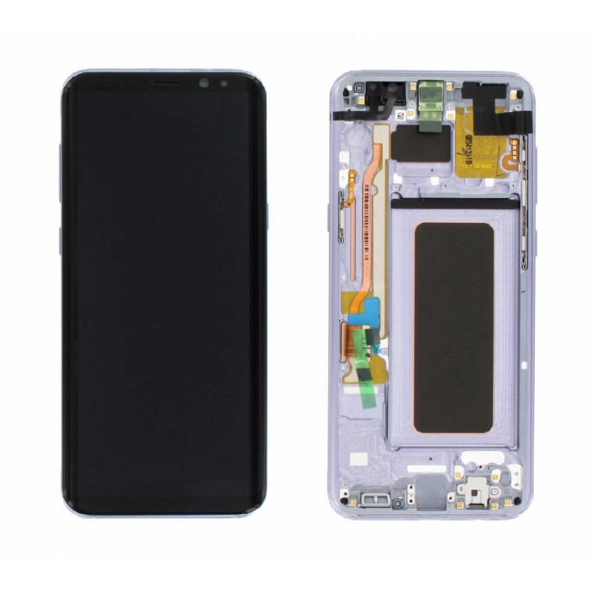 LCD screen Samsung G955F S8 Plus with touch screen and frame violet (Orchid Gray) original (used Grade A)