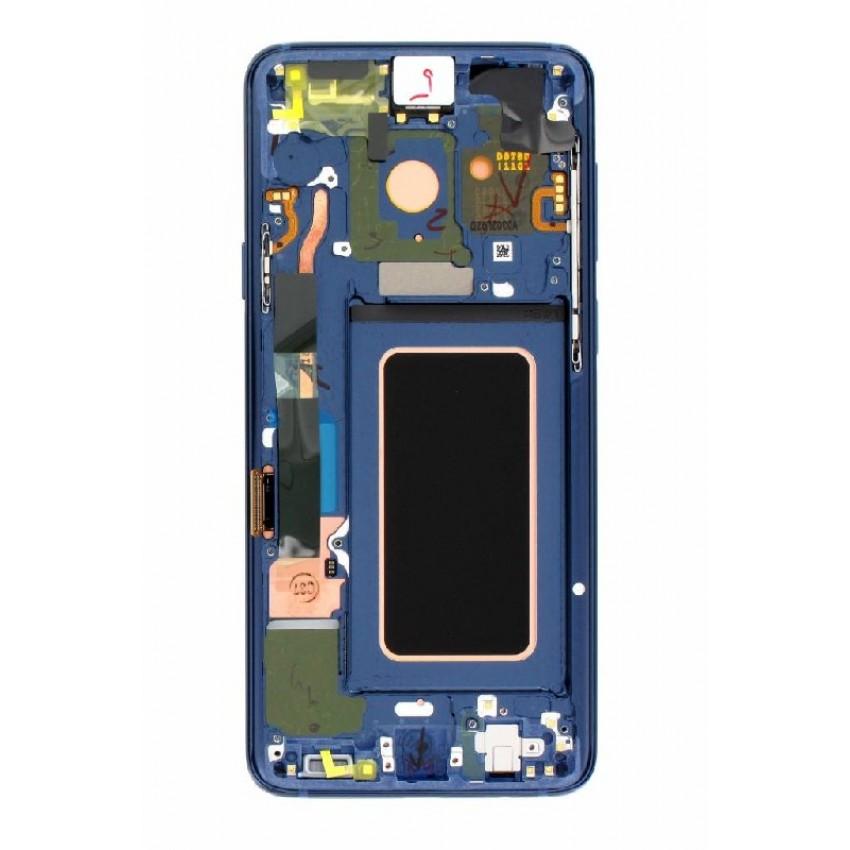 Ekranas Samsung G965F S9 Plus su lietimui jautriu stikliuku ir rėmeliu mėlynas (Coral Blue) originalus (used Grade B)