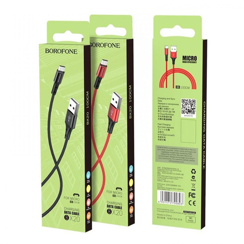 USB cable BOROFONE BX20 Enjoy microUSB red 1m