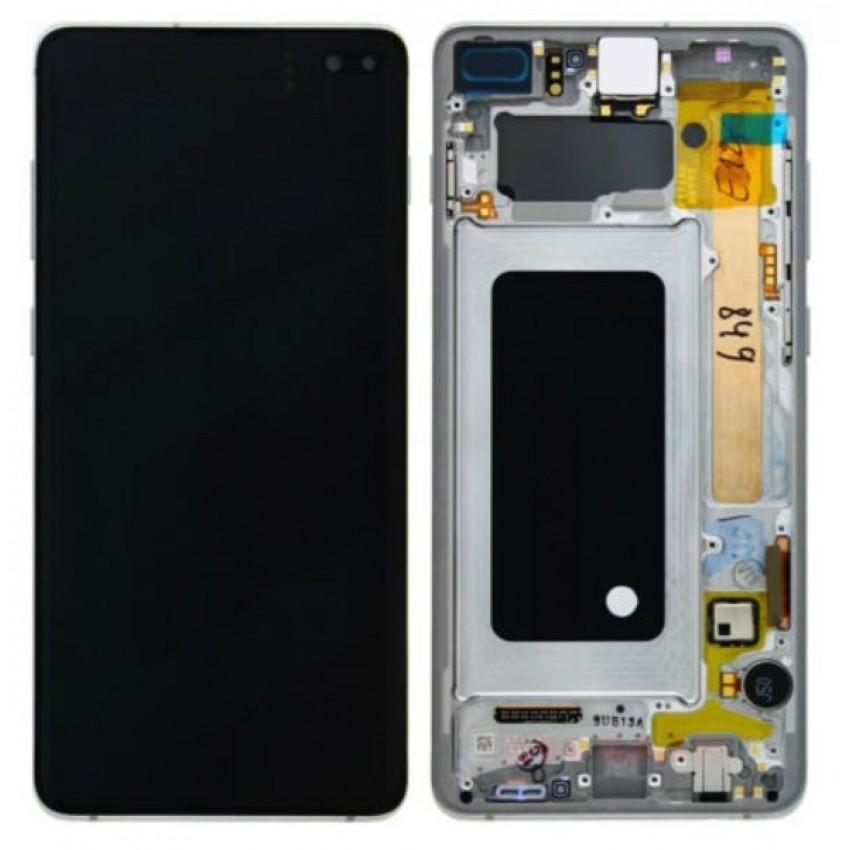 Ekranas Samsung G975F S10 Plus su lietimui jautriu stikliuku ir rėmeliu juodas (Prism/Ceramic Black) originalus (service pack)