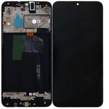 Ekranas Samsung A105 A10 Dual SIM su lietimui jautriu stikliuku ir rėmeliu juodas originalus (service pack)