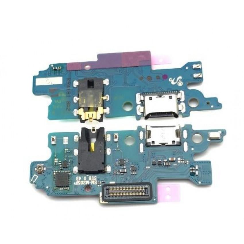 Lanksčioji jungtis Samsung M205 M20 2019 su įkrovimo kontaktu, mikrofonu, ausinių lizdu HQ