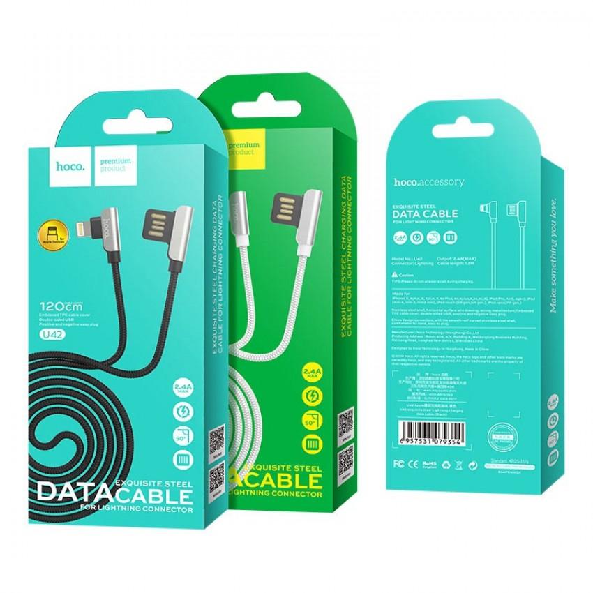 """USB cable HOCO U42 Exquisite steel """"lightning"""" 1,2m black"""