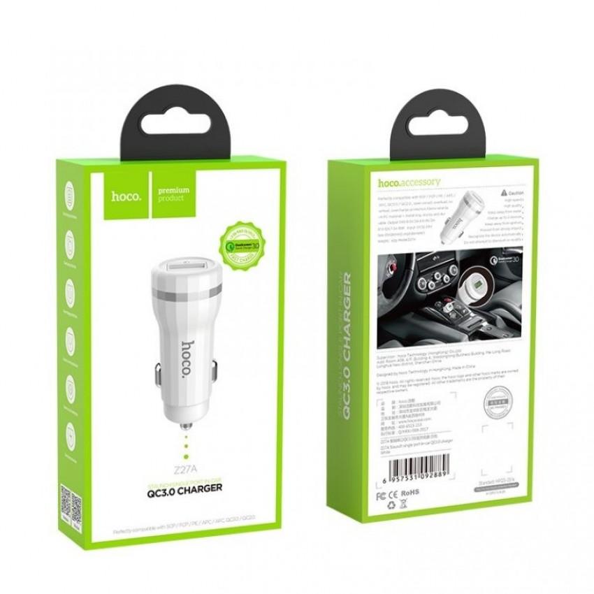Įkroviklis automobilinis HOCO Z27A QC3.0 USB 18W (3.6V-6.5V/3A, 6.6-9V/2A, 9.1V-12V/1.5A) baltas