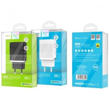 Charger HOCO C42A Vast power QC3.0 USB 18W (3.6V-6.5V/3A, 6.6V-9V/2A, 9.1V-12V/1.5A) black