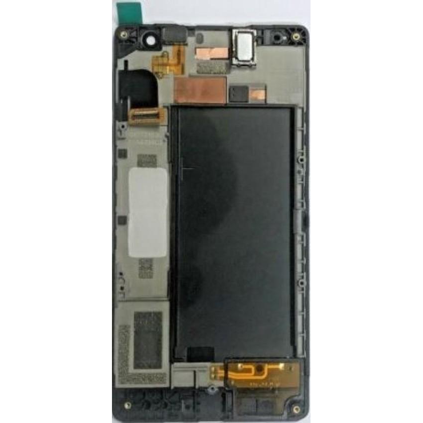 Ekranas Microsoft (Nokia) Lumia 735 su lietimui jautriu stikliuku ir rėmeliu juodas originalus (used grade B)