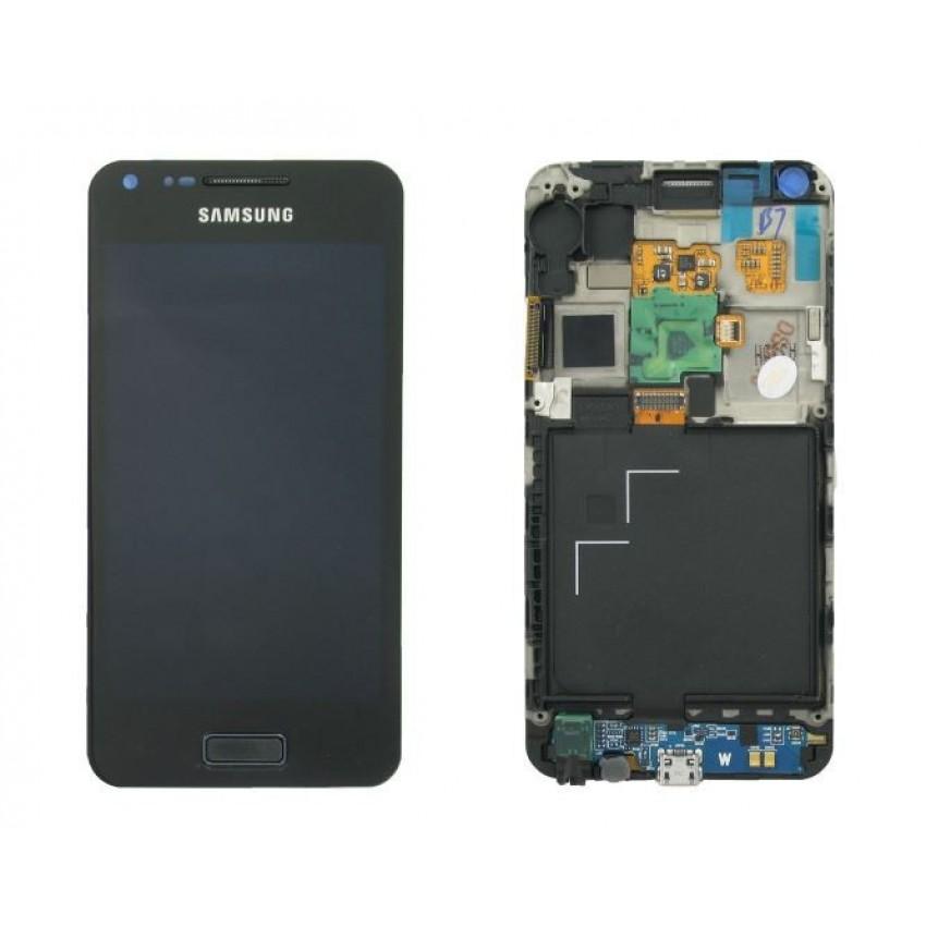 Ekranas Samsung i9070 Galaxy S Advance su lietimui jautriu stikliuku su rėmeliu juodas originalus (service pack)
