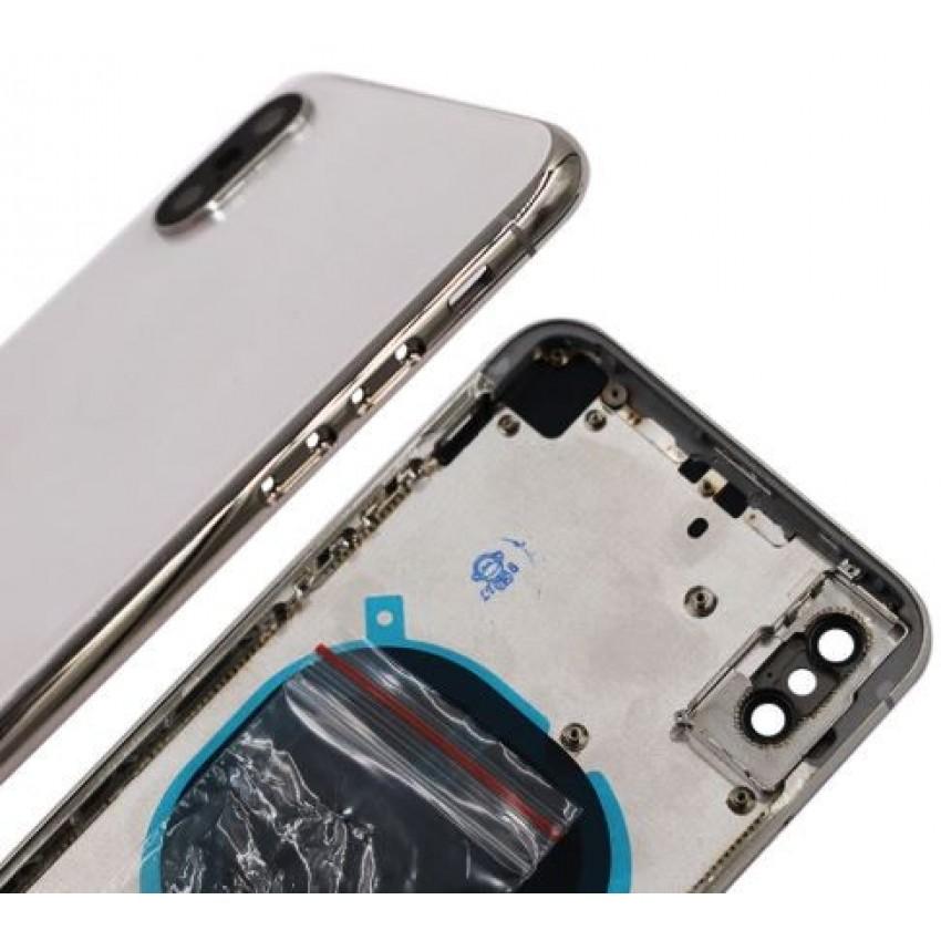 Galinis dangtelis iPhone X sidabrinis (baltas) pilnas HQ