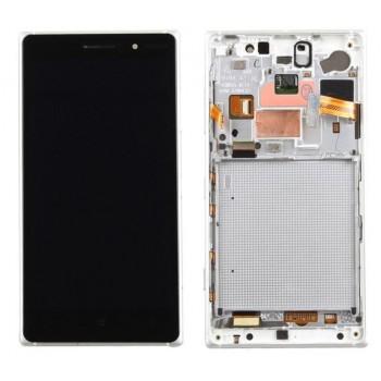 Ekranas Microsoft (Nokia) Lumia 830 su lietimui jautriu stikliuku ir rėmeliu baltas originalus (used grade B)