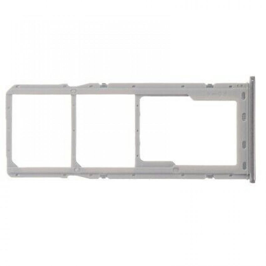 SIM card holder Samsung A705 A70 2019 white (silver) ORG
