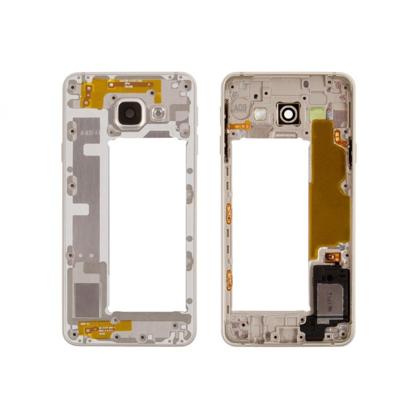 Middle housing Samsung A310 A3 2016 gold with buzzer and sides buttons original (used Grade B)