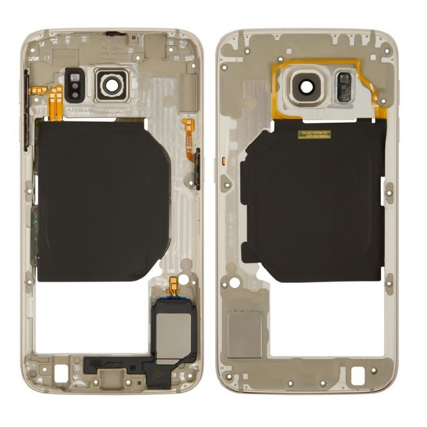 Middle housing Samsung G920F S6 gold with buzzer and sides buttons original (used Grade B)