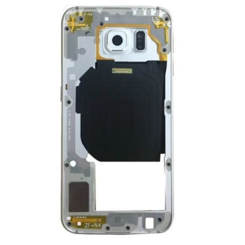 Middle housing Samsung G920F S6 silver (white) with buzzer and sides buttons original (used Grade B)