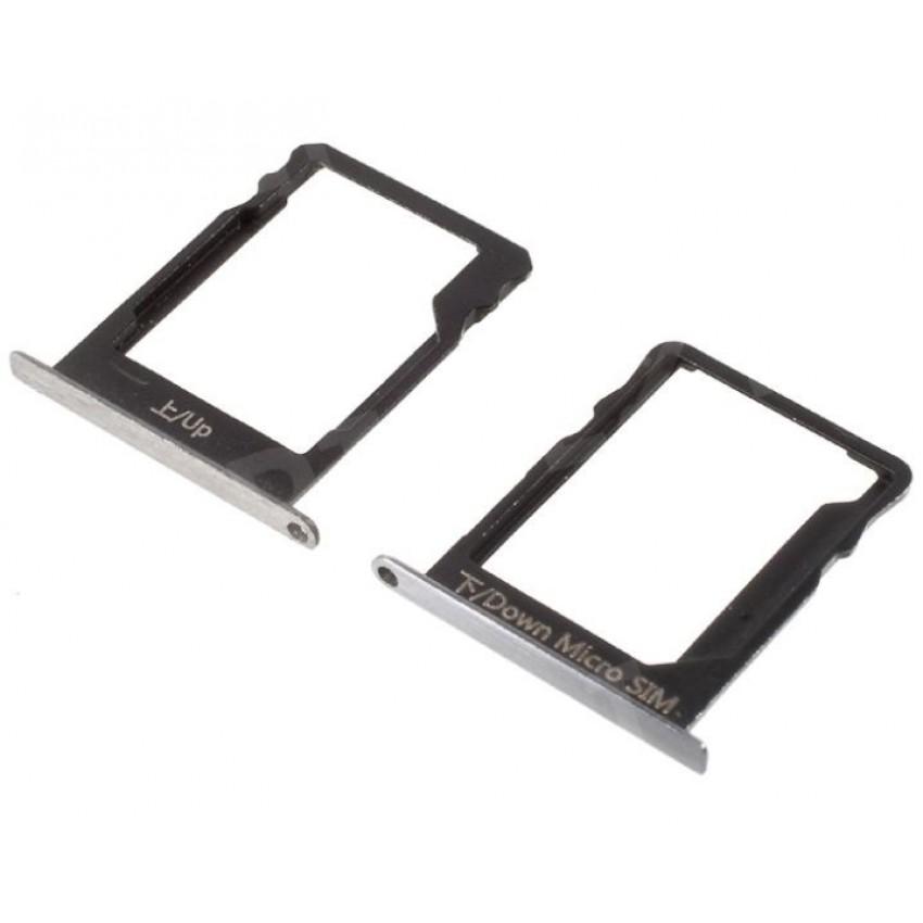 SIM card holder Huawei P8 Lite silver (white) 2pcs original (service pack)