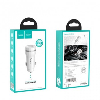 """Car charger HOCO Z27 USB + """"microUSB"""" (5V 2.4A) white"""