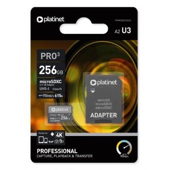 Atminties korta Platinet MicroSD 256GB (class10 UHS-III 90MB/S) + SD Adapteris
