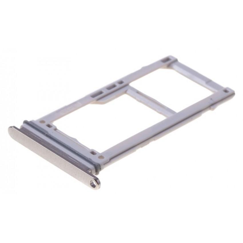SIM card holder Samsung S10e/S10/S10+ DUAL white (silver) (Prism White) original (used Grade A)