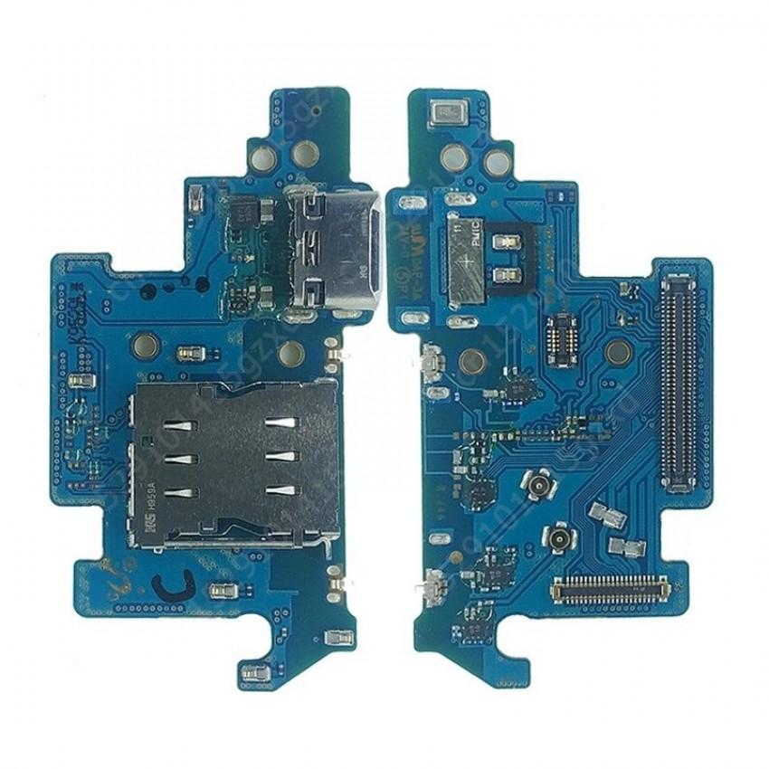 Lanksčioji jungtis Samsung A805 A80 2019 su įkrovimo kontaktu, mikrofonu, SIM lizdu originali (service pack)