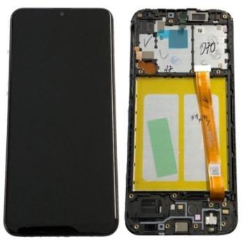 Ekranas Samsung A202 A20e 2019 su lietimui jautriu stikliuku ir rėmeliu juodas originalus (used Grade B)