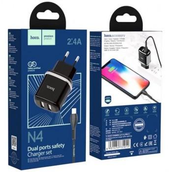 Įkroviklis HOCO N4 Aspiring Dual USB + lightning kabelis (5V 2.4A) juodas