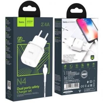 Įkroviklis HOCO N4 Aspiring Dual USB + lightning kabelis (5V 2.4A) baltas