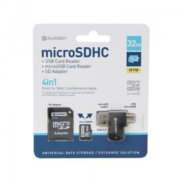Atmiņas karte Platinet MicroSD 32GB (class10) + SD adapteris + OTG karšu lasītājs